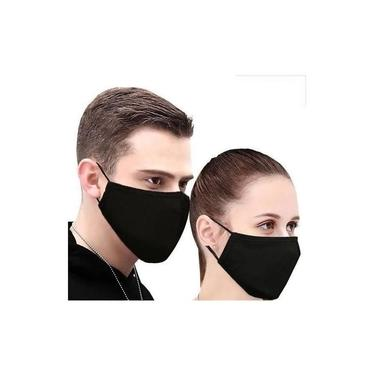 Kit c/ 5 Máscaras de proteção Cirúrgica Reutilizável Tecido cor Preta e 5 Máscaras brancas- Duplo
