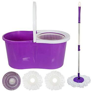 Kit Spin Mop De Limpeza Com Esfregao Balde Centrifugador Mop Com Rotação 360 + Refil S-6 Roxo