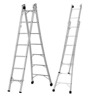 Imagem de Escada De Alumínio Extensiva 7 Degraus 2,27 X 3,73 Metros P007 Alustep
