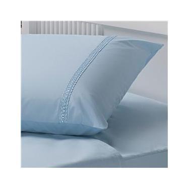 Imagem de Fronha Plumasul Sianinha Percal 233 Fios Azul - 50 x 90 cm