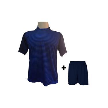 Imagem de Uniforme Esportivo com 18 camisas modelo City Marinho/Royal + 18 calções modelo Madrid Marinho +
