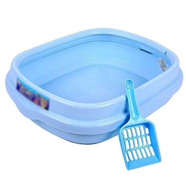 Imagem de Cat Toilet Open Cat Urinal Semi-Close'd Litter Box Anti-Over'flow Cat Litter Tray Cat Toilet Pet Supplies Cat Sand Basin (Color : Blue) LATT LIV