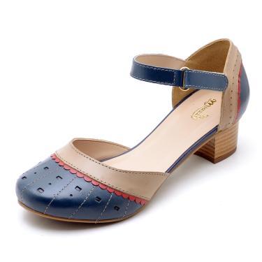 Sandália SapatoFran Retro Vintage Azul Marinho Bege  feminino