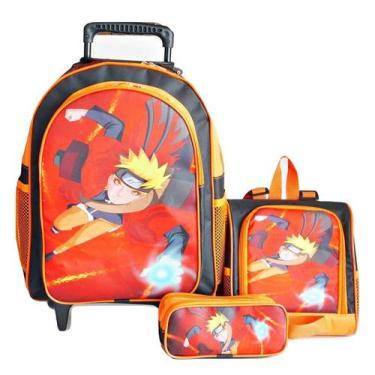 Imagem de Mochila Naruto Rodinhas Lancheira Estojo - School Bag