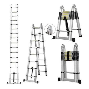 Escada Telescópica Dupla 14 Degraus 4,4 metros Alumínio CHARBS - Prateado