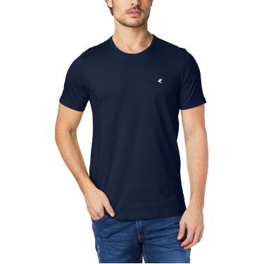 Camiseta Slim bordada em malha, Malwee, Masculino, Azul Marinho, P