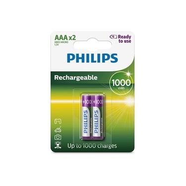 2 Pilhas Recarregáveis Palito AAA Philips 1000mAh