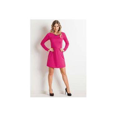 Vestido Curto Manga Longa Rosa - Tamanho M