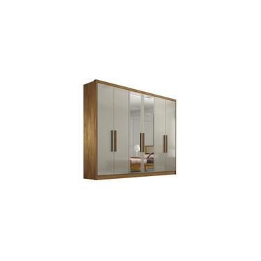 Imagem de Guarda-roupa 6 Portas com Espelho Freijo Dourado Off White