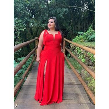 Vestido de Madrinha de Casamento Civil Plus Size Elegante Com Decote e Fenda Lateral (Vermelho, GG)