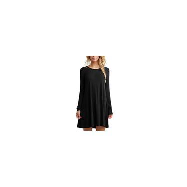 Senhora cor sólida Fashion Dress Rodada Long Neck Sleeve Mulheres Vestido Vestido Curto