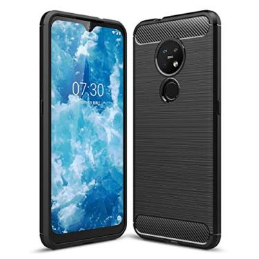 """Grandcaser Capa para Nokia 6.2 Ultra Fina Fibra Carbono Suave TPU à Prova Choque Anti-arranhões Capa Proteção para Nokia 6.2/7.2 6.3"""" -Preto"""