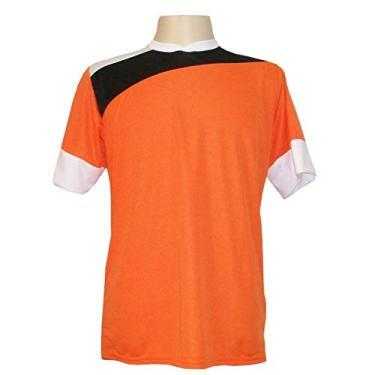 Imagem de Jogo de Camisa com 14 unidades modelo Sporting Laranja/Preto/Branco + 1 Goleiro +