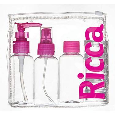 Ricca, Kit para Viagem com Tampas, Transparente/Rosa