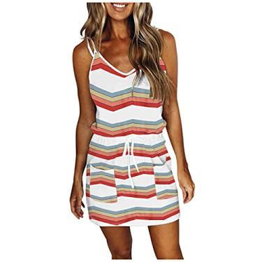 Imagem de MUSYOYO Vestido feminino de verão, plus size, casual, com cordão, decote em V, curto, sem mangas, vestido de festa, vestido com alça de amarrar, 23#branco, US:10 (L)