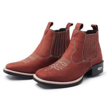Imagem de Bota Botina Feminina Texana Pessoni Boots Couro Cano Curto Castor Creme 34