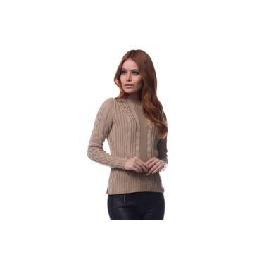 Blusa Logan Tricot Feminina Canelada Trançada Conforto Castor