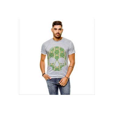 Camiseta Caveira Floral Cinza Masculina