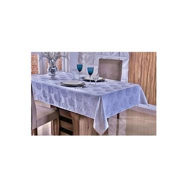 Imagem de Toalha De Mesa Ano Novo Para 8 Lugares - Tecido Jacquard - Branco Com Textura